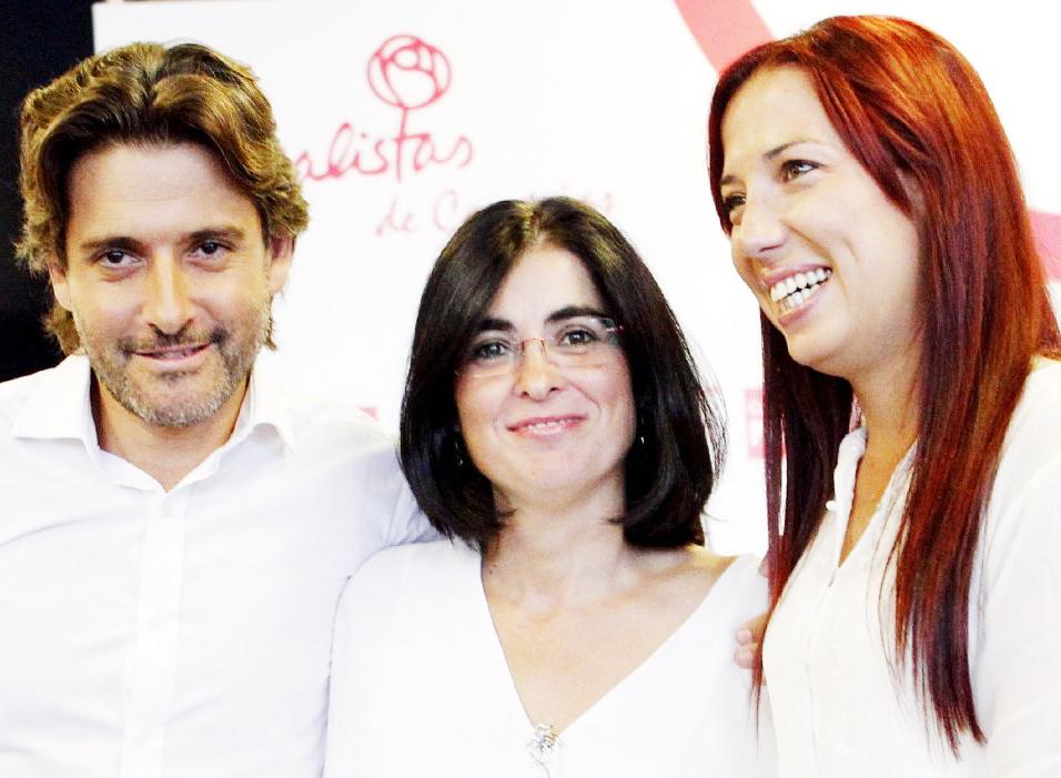 Carolina Darias, con Gustavo Matos y Patricia Hernández.
